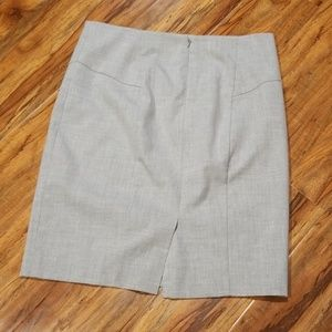 "Grey 21"" womans yoked straight skirt, back 5"" slit"